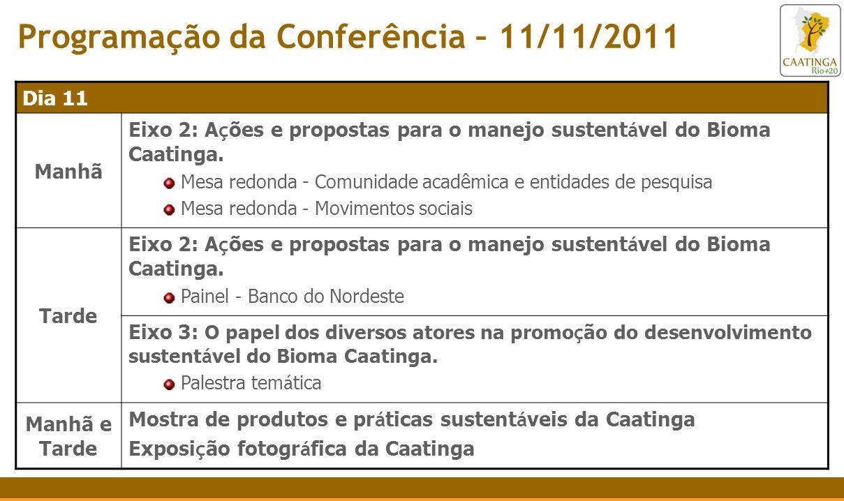 Programação da Conferência – 11/11/2011 Dia 11 Manhã Eixo 2: A ç ões e propostas para o manejo sustent á vel do Bioma Caatinga. Mesa redonda - Comunid