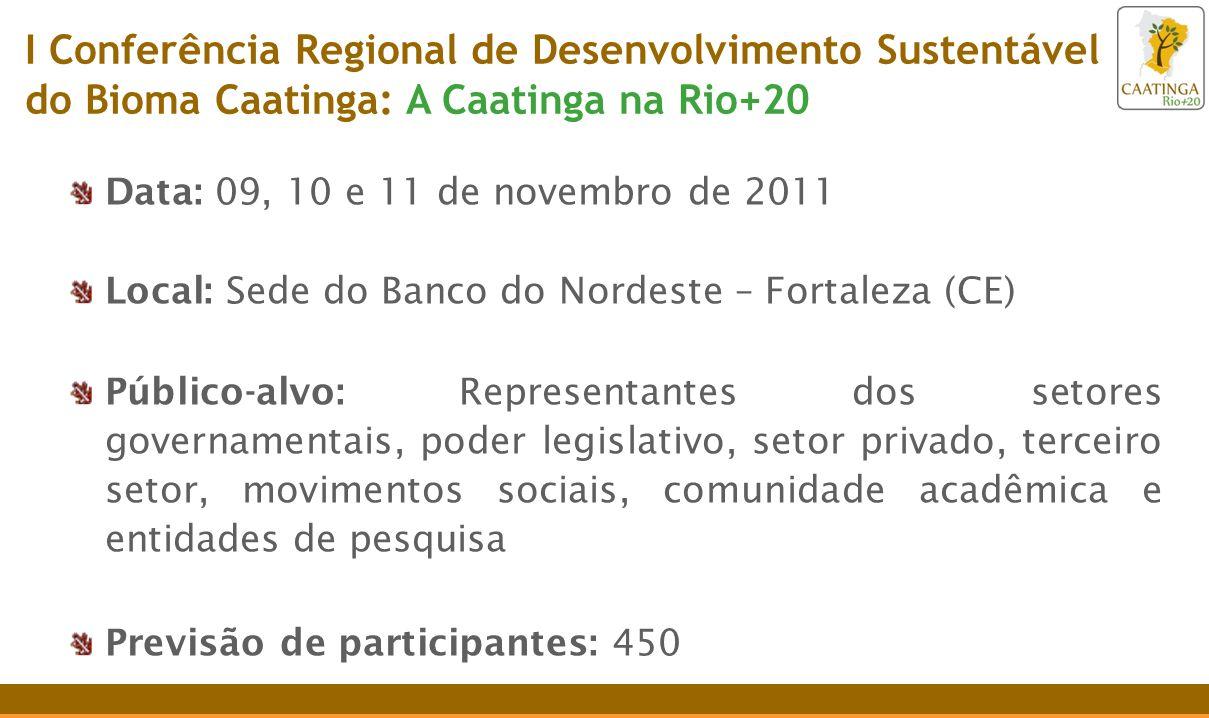 Data: 09, 10 e 11 de novembro de 2011 Local: Sede do Banco do Nordeste – Fortaleza (CE) Público-alvo: Representantes dos setores governamentais, poder