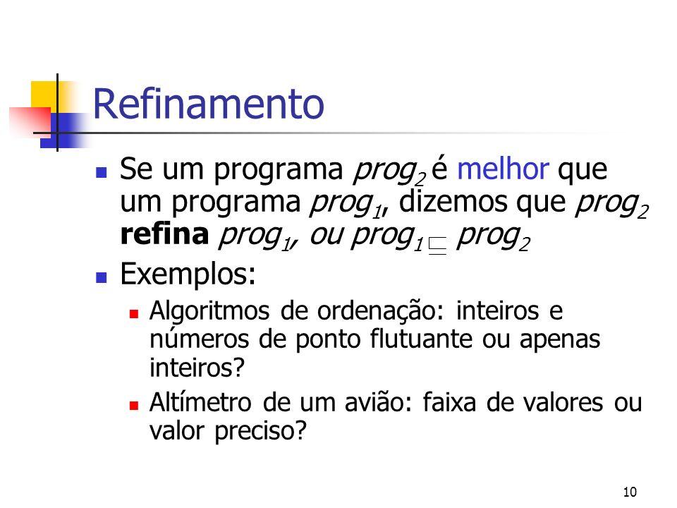 10 Refinamento Se um programa prog 2 é melhor que um programa prog 1, dizemos que prog 2 refina prog 1, ou prog 1 prog 2 Exemplos: Algoritmos de orden
