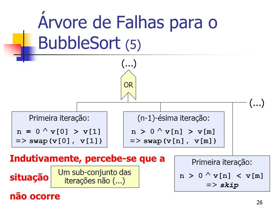 26 Árvore de Falhas para o BubbleSort (5) OR Primeira iteração: n = 0 ^ v[0] > v[1] => swap(v[0], v[1]) (n-1)-ésima iteração: n > 0 ^ v[n] > v[m] => s