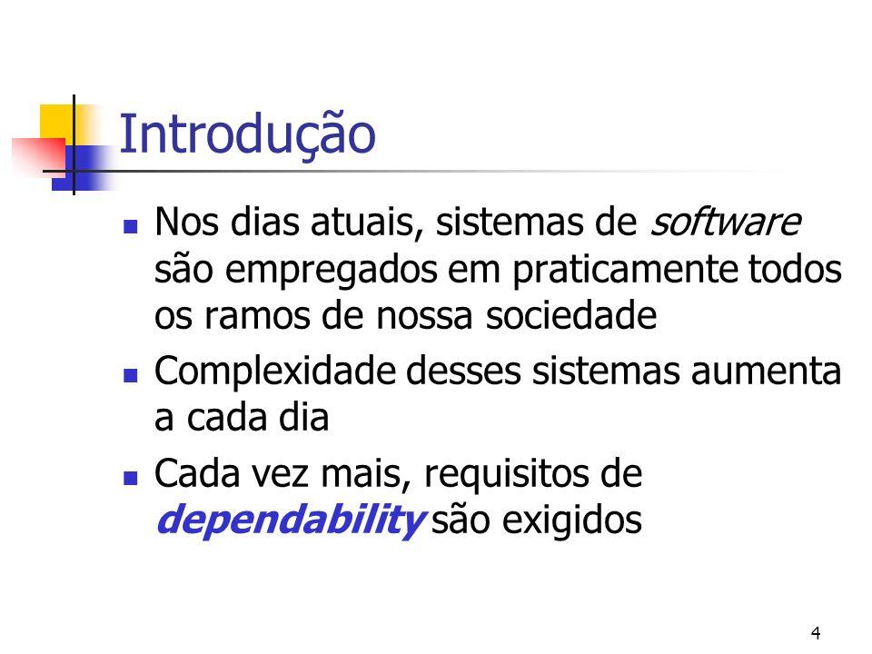 4 Introdução Nos dias atuais, sistemas de software são empregados em praticamente todos os ramos de nossa sociedade Complexidade desses sistemas aumen