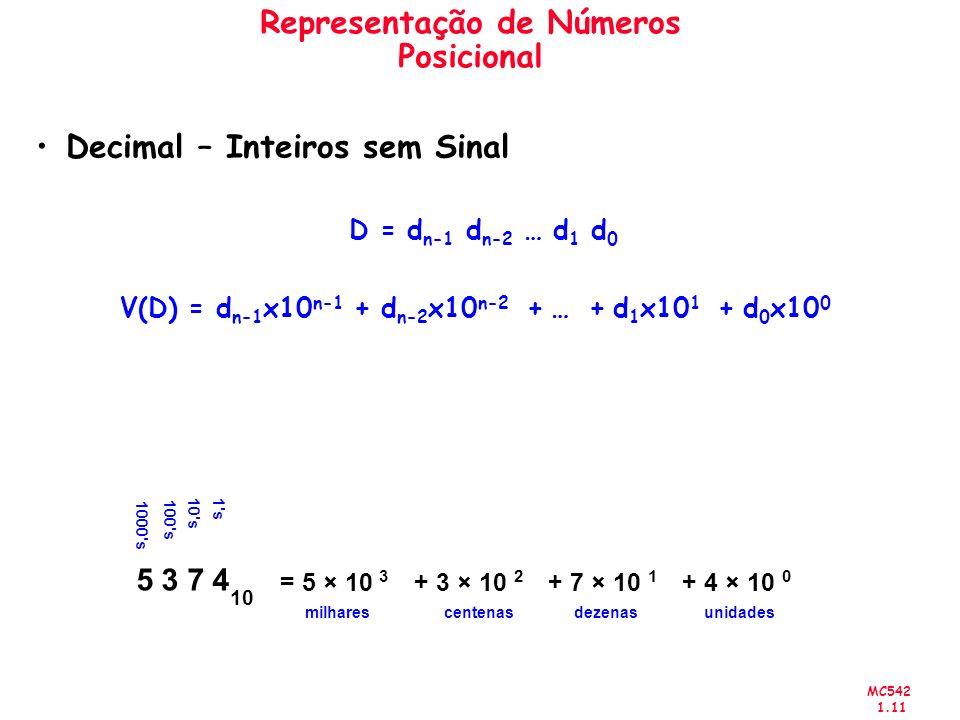 MC542 1.11 Representação de Números Posicional Decimal – Inteiros sem Sinal 5 3 7 4 10 = 5 × 10 3 + 3 × 10 2 + 7 × 10 1 + 4 × 10 0 milhares 10's 100's