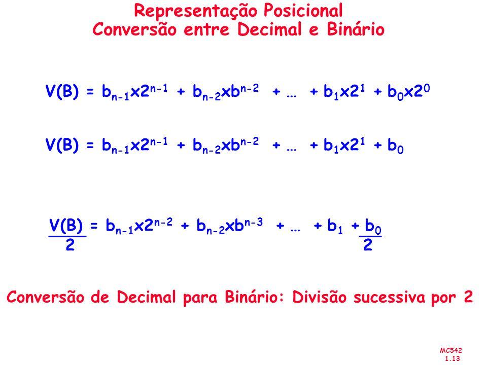 MC542 1.13 Representação Posicional Conversão entre Decimal e Binário V(B) = b n-1 x2 n-1 + b n-2 xb n-2 + … + b 1 x2 1 + b 0 x2 0 V(B) = b n-1 x2 n-1