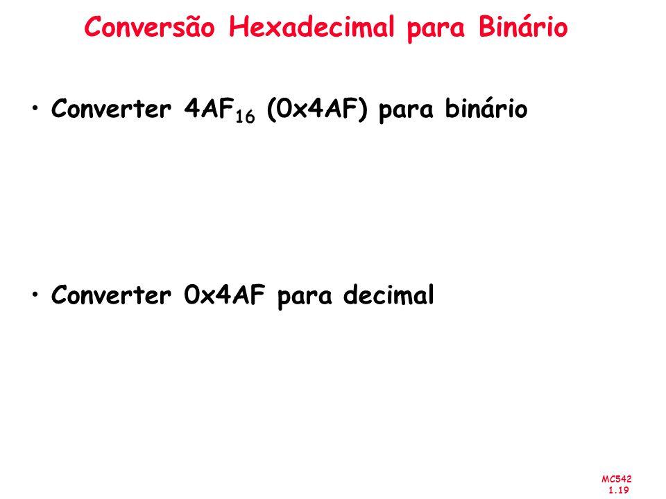 MC542 1.19 Conversão Hexadecimal para Binário Converter 4AF 16 (0x4AF) para binário Converter 0x4AF para decimal