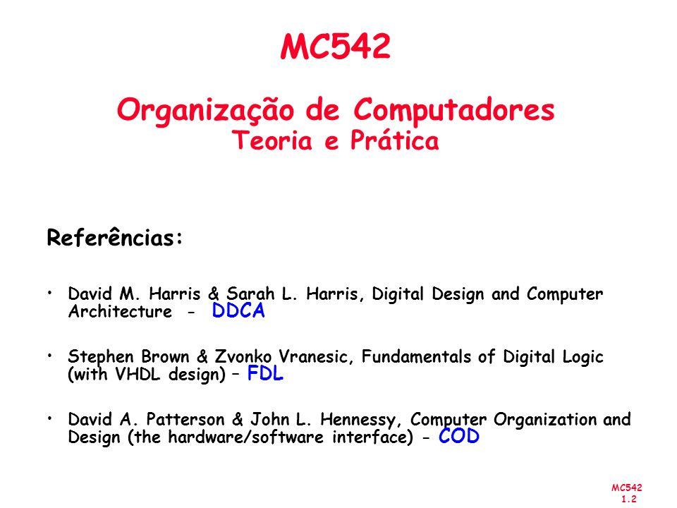 MC542 1.43 Comparação Number SystemRange Unsigned[0, 2 N -1] Sign/Magnitude[-(2 N-1 -1), 2 N-1 -1] Twos Complement[-2 N-1, 2 N-1 -1] Representação em 4-bit:
