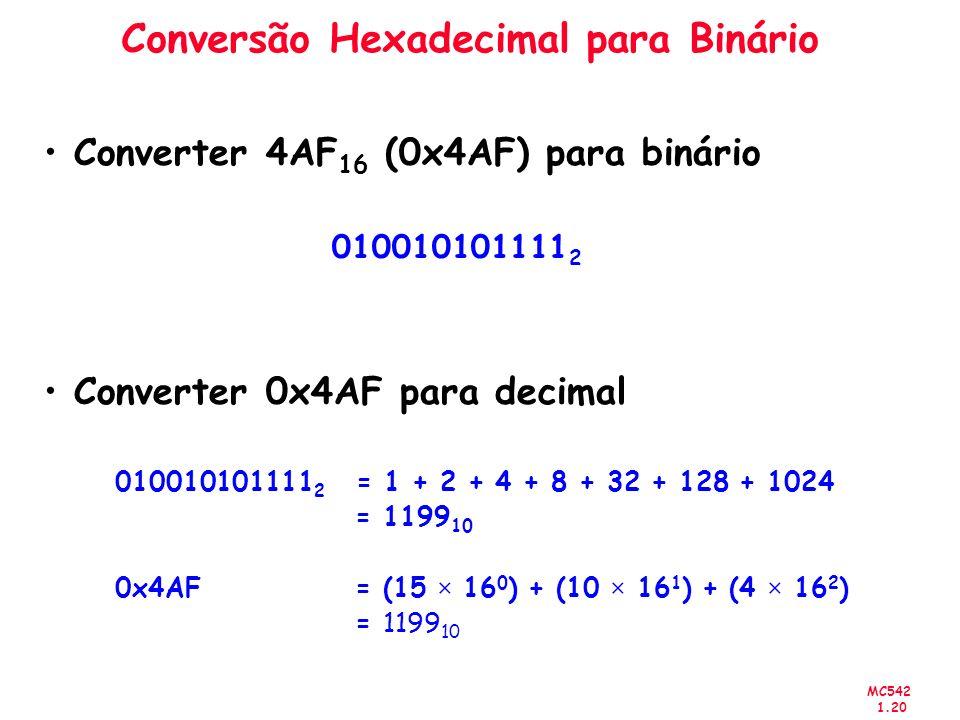 MC542 1.20 Conversão Hexadecimal para Binário Converter 4AF 16 (0x4AF) para binário 010010101111 2 Converter 0x4AF para decimal 010010101111 2 = 1 + 2