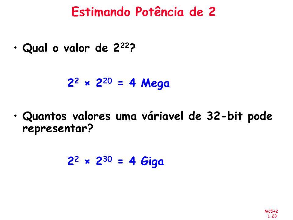MC542 1.23 Estimando Potência de 2 Qual o valor de 2 22 ? 2 2 × 2 20 = 4 Mega Quantos valores uma váriavel de 32-bit pode representar? 2 2 × 2 30 = 4