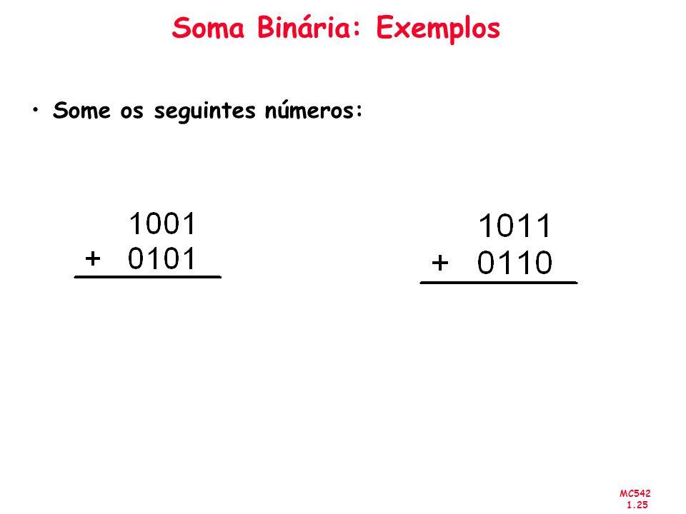 MC542 1.25 Soma Binária: Exemplos Some os seguintes números: