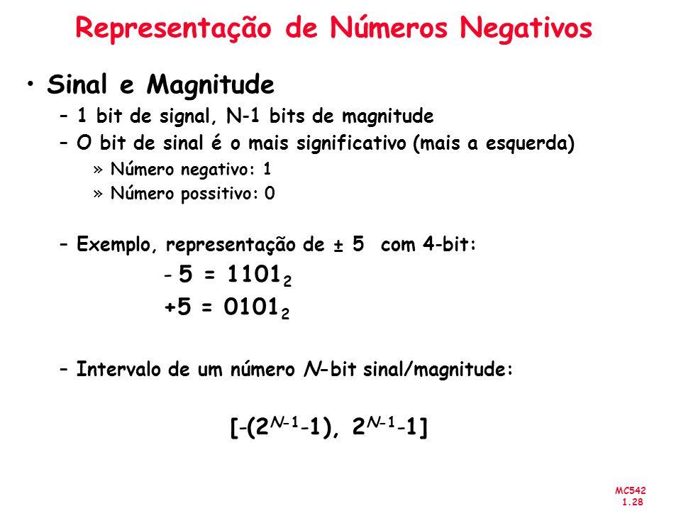MC542 1.28 Representação de Números Negativos Sinal e Magnitude –1 bit de signal, N-1 bits de magnitude –O bit de sinal é o mais significativo (mais a