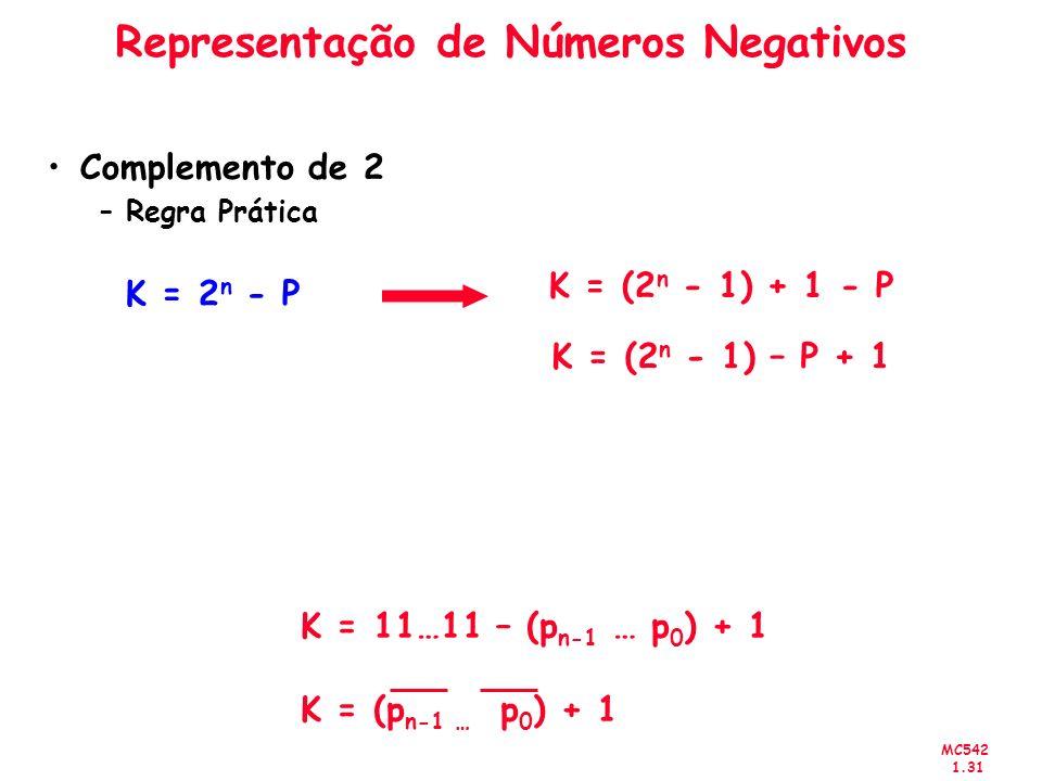 MC542 1.31 Representação de Números Negativos Complemento de 2 –Regra Prática K = 2 n - P K = (2 n - 1) + 1 - P K = (2 n - 1) – P + 1 K = 11…11 – (p n