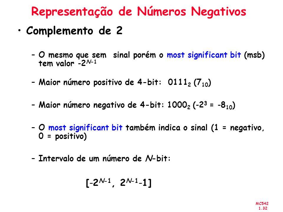 MC542 1.32 Representação de Números Negativos Complemento de 2 –O mesmo que sem sinal porém o most significant bit (msb) tem valor -2 N-1 –Maior númer