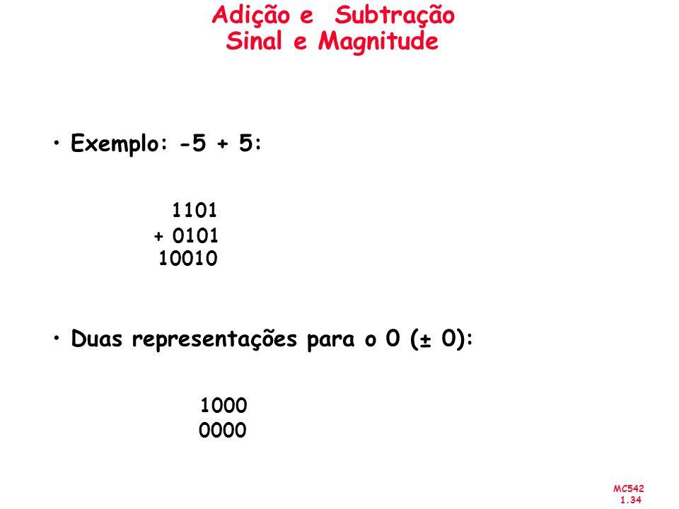 MC542 1.34 Adição e Subtração Sinal e Magnitude Exemplo: -5 + 5: 1101 + 0101 10010 Duas representações para o 0 (± 0): 1000 0000