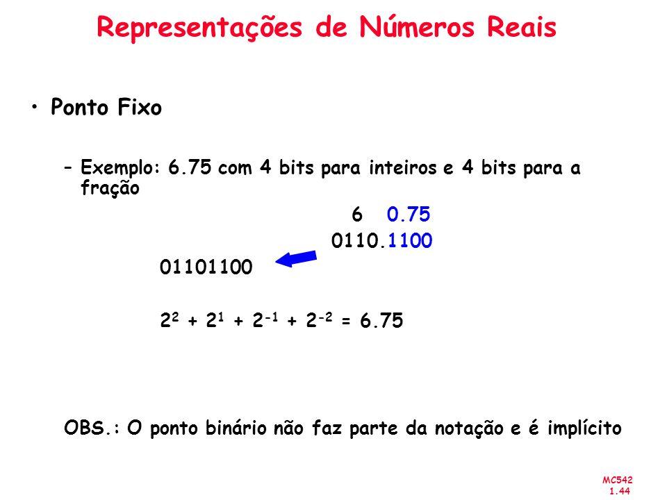 MC542 1.44 Representações de Números Reais Ponto Fixo –Exemplo: 6.75 com 4 bits para inteiros e 4 bits para a fração 6 0.75 0110.1100 01101100 2 2 + 2