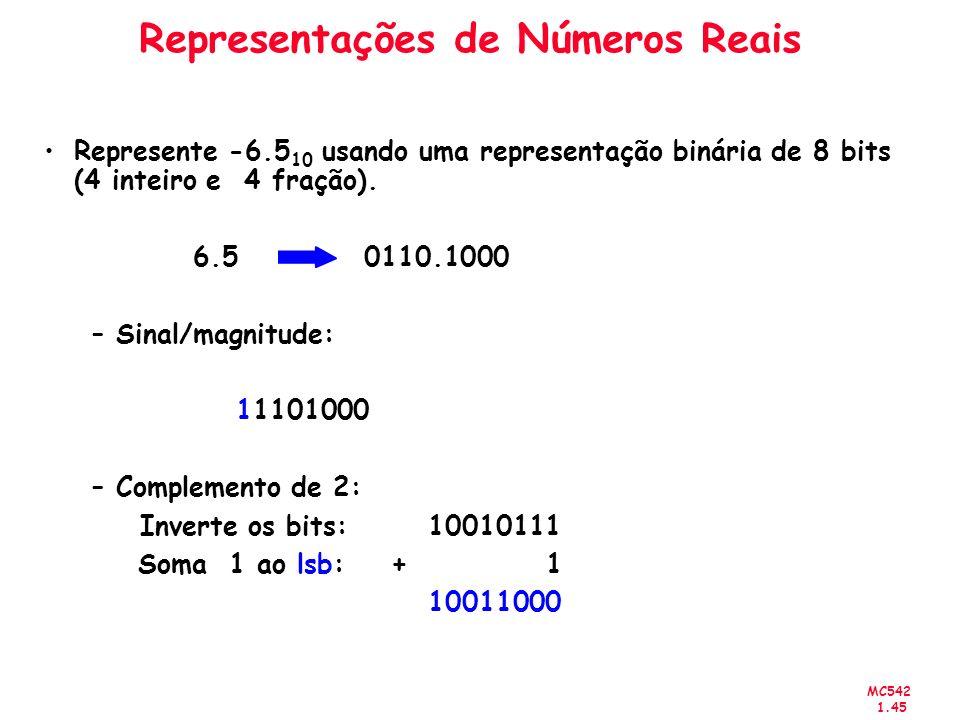 MC542 1.45 Representações de Números Reais Represente -6.5 10 usando uma representação binária de 8 bits (4 inteiro e 4 fração). 6.5 0110.1000 –Sinal/