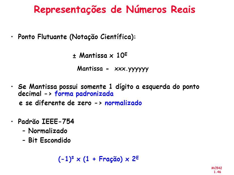 MC542 1.46 Representações de Números Reais Ponto Flutuante (Notação Científica): ± Mantissa x 10 E Mantissa = xxx.yyyyyy Se Mantissa possui somente 1