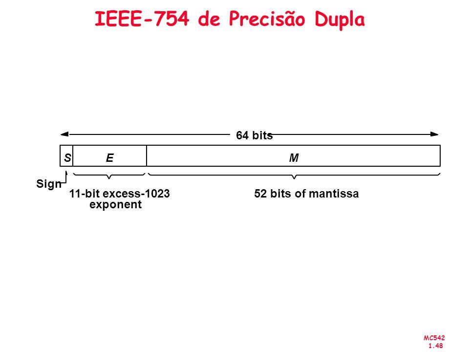 MC542 1.48 IEEE-754 de Precisão Dupla 52 bits of mantissa11-bit excess-1023 exponent 64 bits Sign SM E