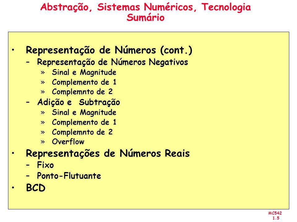 MC542 1.5 Abstração, Sistemas Numéricos, Tecnologia Sumário Representação de Números (cont.) –Representação de Números Negativos »Sinal e Magnitude »C