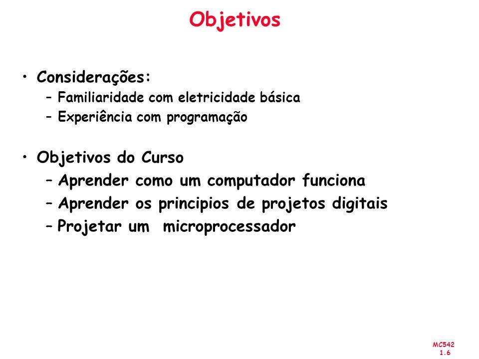 MC542 1.6 Objetivos Considerações: –Familiaridade com eletricidade básica –Experiência com programação Objetivos do Curso –Aprender como um computador