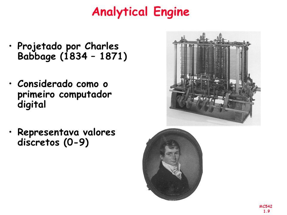 MC542 1.9 Analytical Engine Projetado por Charles Babbage (1834 – 1871) Considerado como o primeiro computador digital Representava valores discretos
