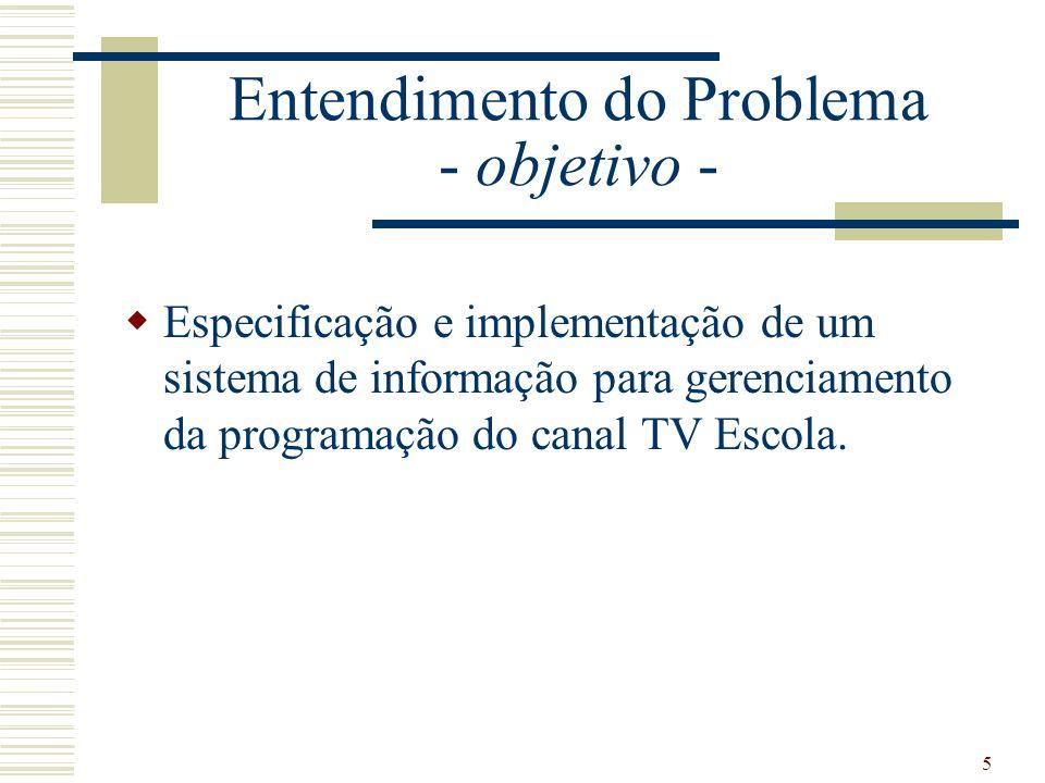 5 Entendimento do Problema - objetivo - Especificação e implementação de um sistema de informação para gerenciamento da programação do canal TV Escola