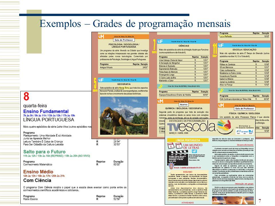 7 Exemplos – Grades de programação mensais