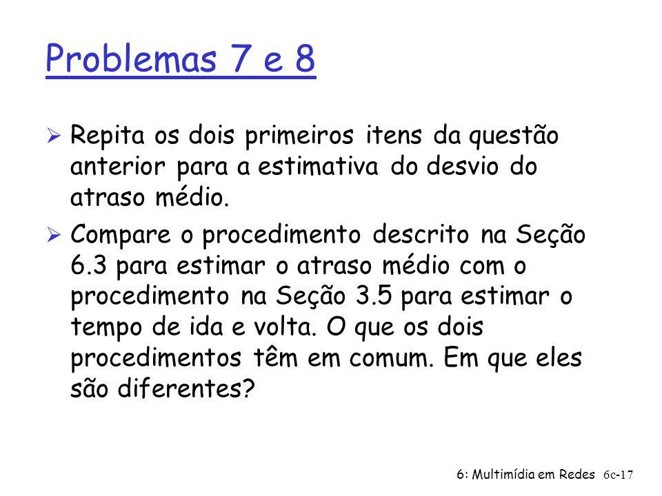 6: Multimídia em Redes6c-17 Problemas 7 e 8 Ø Repita os dois primeiros itens da questão anterior para a estimativa do desvio do atraso médio. Ø Compar