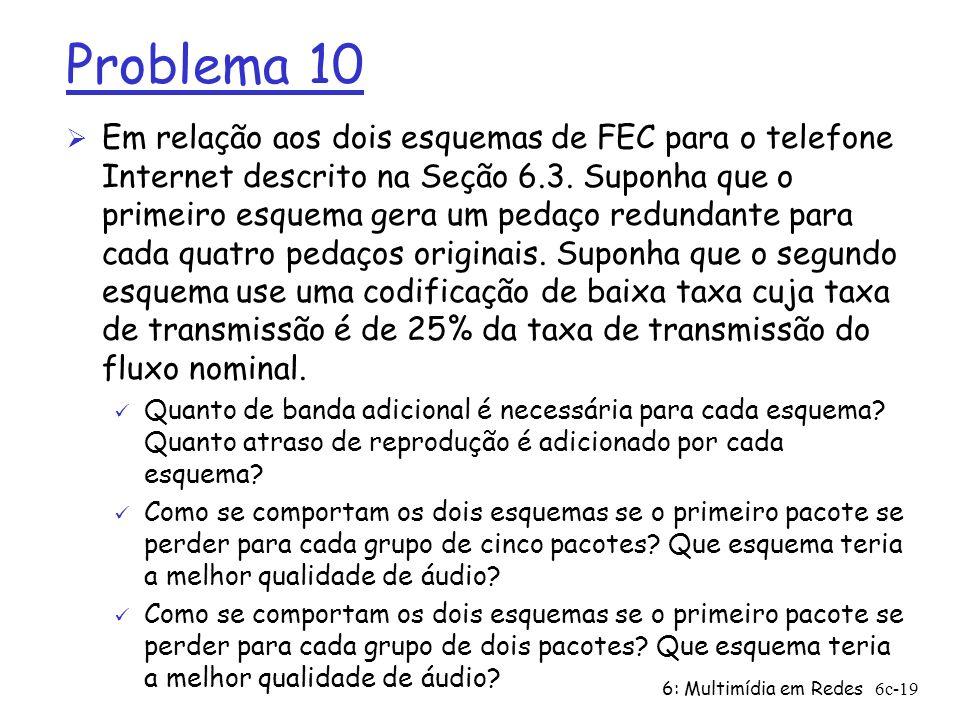6: Multimídia em Redes6c-19 Problema 10 Ø Em relação aos dois esquemas de FEC para o telefone Internet descrito na Seção 6.3. Suponha que o primeiro e