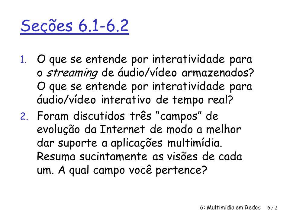 6: Multimídia em Redes6c-2 Seções 6.1-6.2 1. O que se entende por interatividade para o streaming de áudio/vídeo armazenados? O que se entende por int