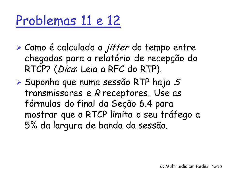 6: Multimídia em Redes6c-20 Problemas 11 e 12 Ø Como é calculado o jitter do tempo entre chegadas para o relatório de recepção do RTCP? (Dica: Leia a