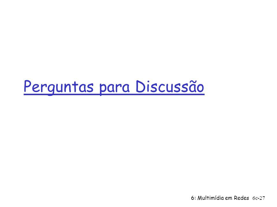 6: Multimídia em Redes6c-27 Perguntas para Discussão