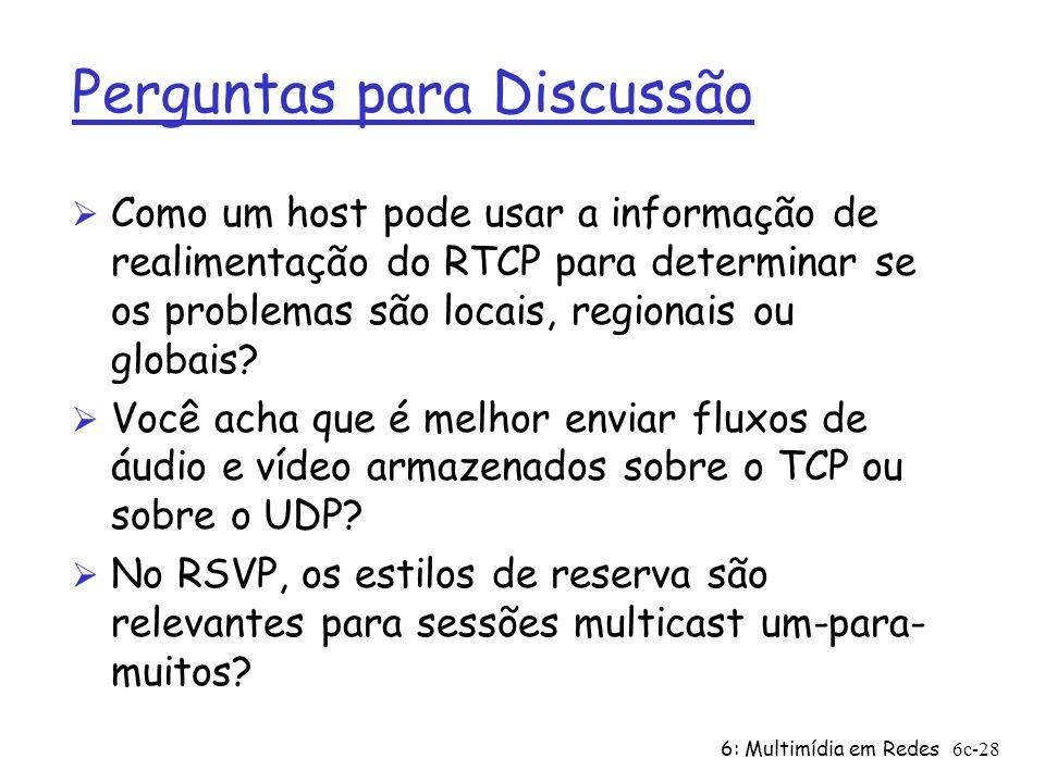 6: Multimídia em Redes6c-28 Perguntas para Discussão Ø Como um host pode usar a informação de realimentação do RTCP para determinar se os problemas sã