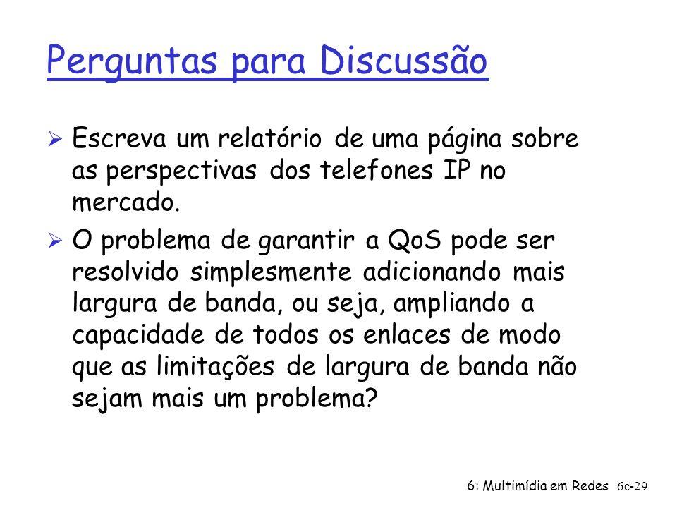 6: Multimídia em Redes6c-29 Perguntas para Discussão Ø Escreva um relatório de uma página sobre as perspectivas dos telefones IP no mercado. Ø O probl