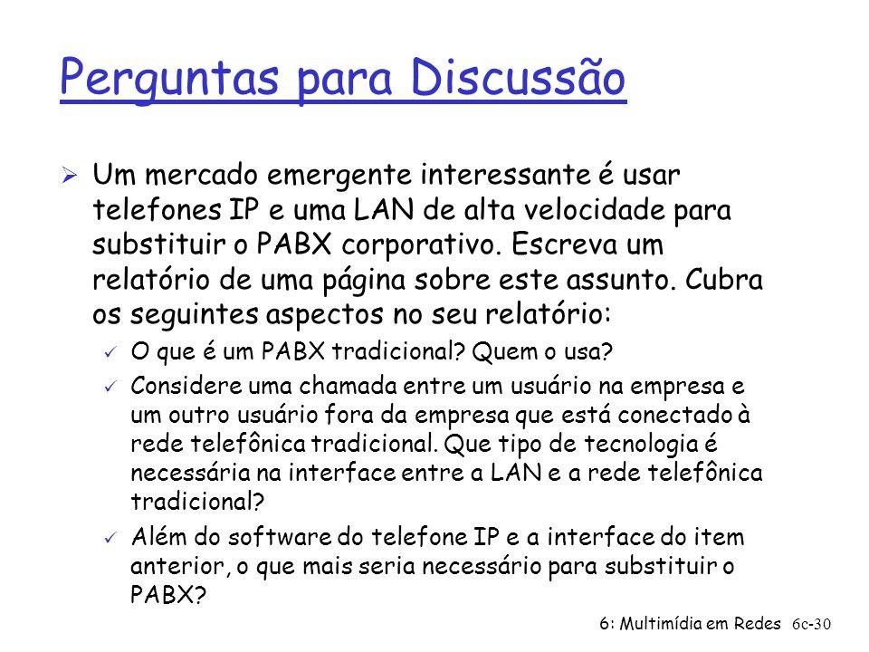 6: Multimídia em Redes6c-30 Perguntas para Discussão Ø Um mercado emergente interessante é usar telefones IP e uma LAN de alta velocidade para substit