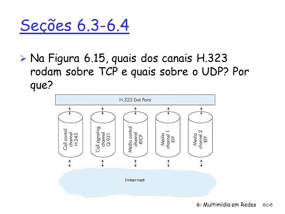 6: Multimídia em Redes6c-6 Seções 6.3-6.4 Ø Na Figura 6.15, quais dos canais H.323 rodam sobre TCP e quais sobre o UDP? Por que?
