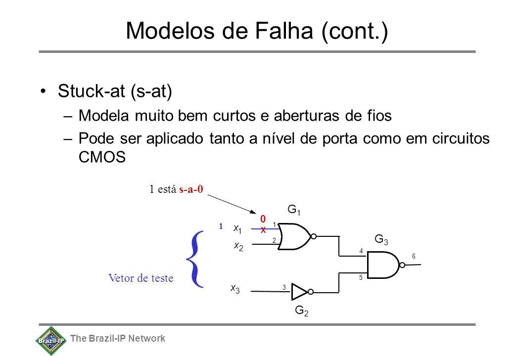 The Brazil-IP Network Modelos de Falha (cont.) Stuck-at (s-at) –Modela muito bem curtos e aberturas de fios –Pode ser aplicado tanto a nível de porta como em circuitos CMOS x 1 x 2 x 3 6 G1G1 G2G2 G3G3 4 1212 3 5 X 0 1 está s-a-0 { Vetor de teste 1