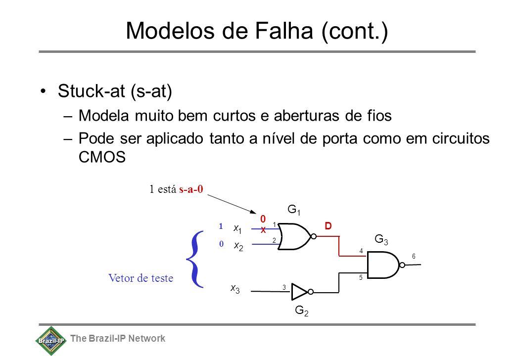 The Brazil-IP Network Modelos de Falha (cont.) Stuck-at (s-at) –Modela muito bem curtos e aberturas de fios –Pode ser aplicado tanto a nível de porta como em circuitos CMOS x 1 x 2 x 3 6 G1G1 G2G2 G3G3 4 1212 3 5 X 0 1 está s-a-0 { Vetor de teste 1 0 D