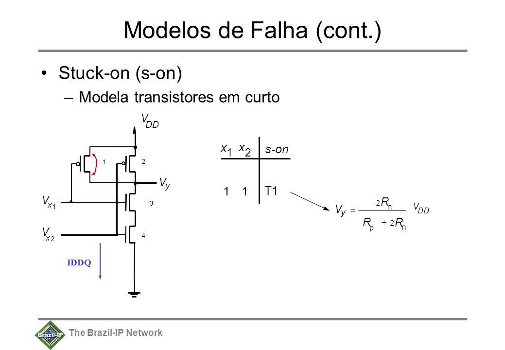 The Brazil-IP Network Modelos de Falha (cont.) Stuck-on (s-on) –Modela transistores em curto V y V DD V x 1 V x 2 1 2 3 4 x 1 x 2 11 T1 s-on V DD R p R n 2 R n + 2 V y = IDDQ