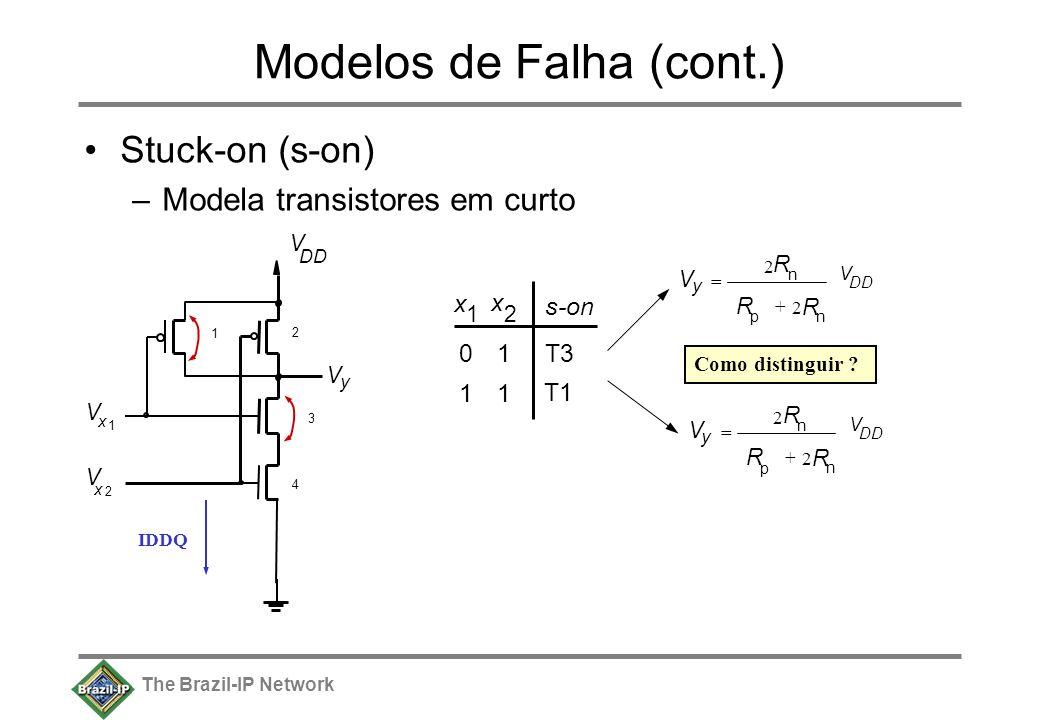 The Brazil-IP Network Modelos de Falha (cont.) Stuck-on (s-on) –Modela transistores em curto V y V DD V x 1 V x 2 1 2 3 4 x 1 x 2 01 11 T1 s-on T3 V D
