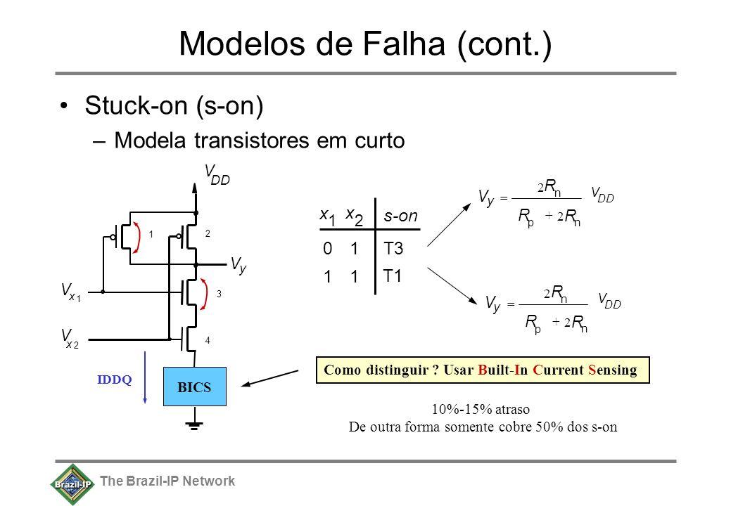The Brazil-IP Network Modelos de Falha (cont.) Stuck-on (s-on) –Modela transistores em curto V y V DD V x 1 V x 2 1 2 3 4 x 1 x 2 01 11 T1 s-on T3 V DD R p R n 2 R n + 2 V y = V R p R n 2 R n + 2 V y = Como distinguir .