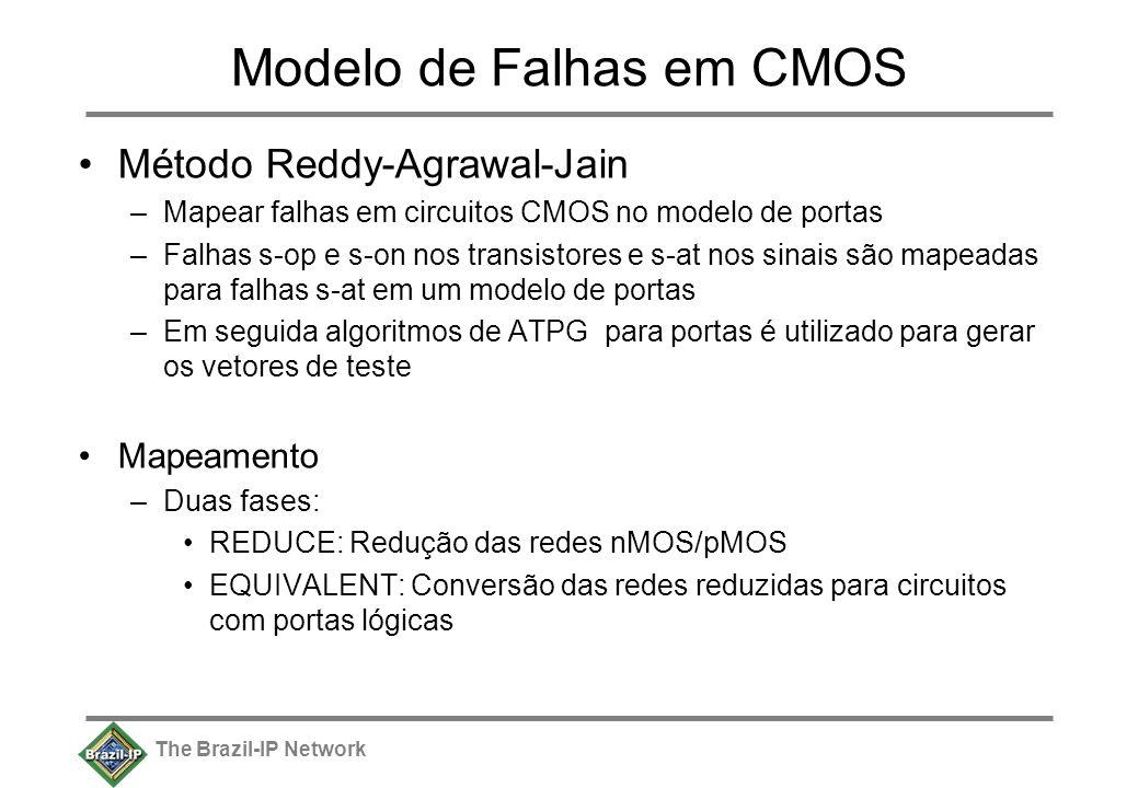 The Brazil-IP Network Modelo de Falhas em CMOS Método Reddy-Agrawal-Jain –Mapear falhas em circuitos CMOS no modelo de portas –Falhas s-op e s-on nos transistores e s-at nos sinais são mapeadas para falhas s-at em um modelo de portas –Em seguida algoritmos de ATPG para portas é utilizado para gerar os vetores de teste Mapeamento –Duas fases: REDUCE: Redução das redes nMOS/pMOS EQUIVALENT: Conversão das redes reduzidas para circuitos com portas lógicas