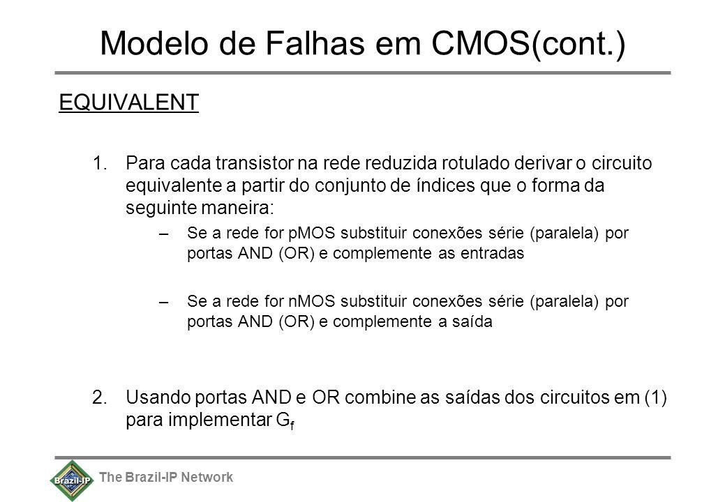 The Brazil-IP Network Modelo de Falhas em CMOS(cont.) EQUIVALENT 1.Para cada transistor na rede reduzida rotulado derivar o circuito equivalente a partir do conjunto de índices que o forma da seguinte maneira: –Se a rede for pMOS substituir conexões série (paralela) por portas AND (OR) e complemente as entradas –Se a rede for nMOS substituir conexões série (paralela) por portas AND (OR) e complemente a saída 2.Usando portas AND e OR combine as saídas dos circuitos em (1) para implementar G f
