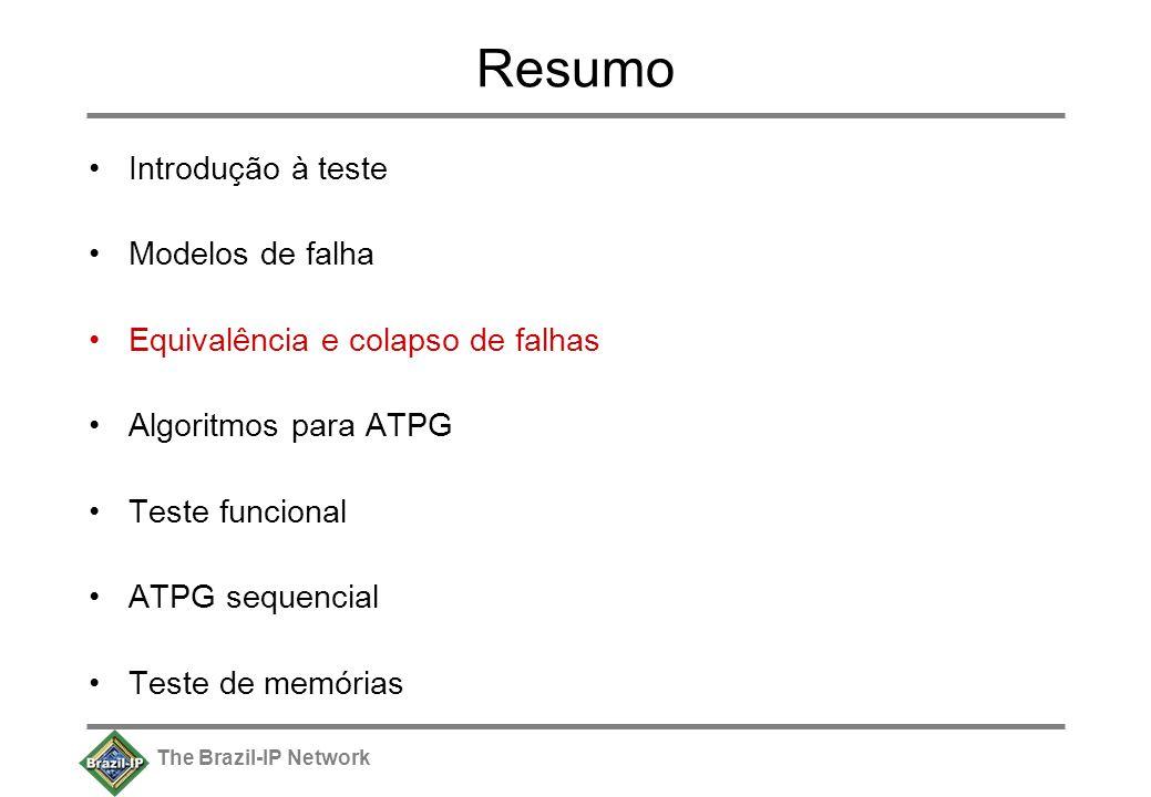 The Brazil-IP Network Resumo Introdução à teste Modelos de falha Equivalência e colapso de falhas Algoritmos para ATPG Teste funcional ATPG sequencial Teste de memórias