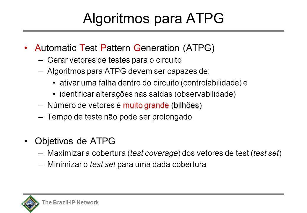 The Brazil-IP Network Algoritmos para ATPG Automatic Test Pattern Generation (ATPG) –Gerar vetores de testes para o circuito –Algoritmos para ATPG devem ser capazes de: ativar uma falha dentro do circuito (controlabilidade) e identificar alterações nas saídas (observabilidade) muito grande (bilhões) –Número de vetores é muito grande (bilhões) –Tempo de teste não pode ser prolongado Objetivos de ATPG –Maximizar a cobertura (test coverage) dos vetores de test (test set) –Minimizar o test set para uma dada cobertura