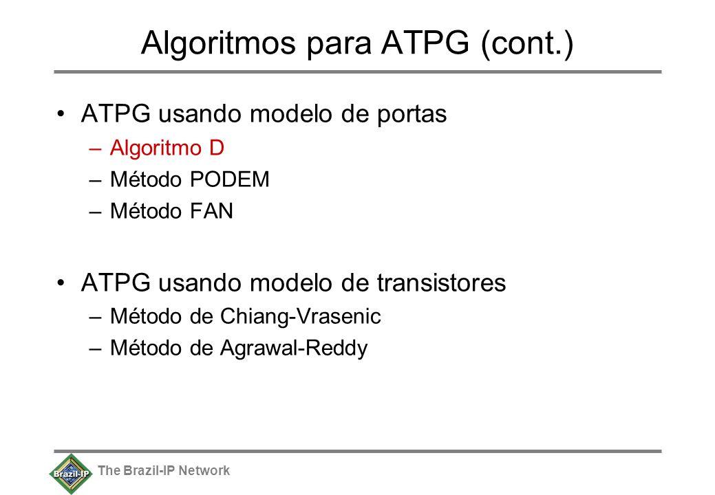 The Brazil-IP Network Algoritmos para ATPG (cont.) ATPG usando modelo de portas –Algoritmo D –Método PODEM –Método FAN ATPG usando modelo de transistores –Método de Chiang-Vrasenic –Método de Agrawal-Reddy
