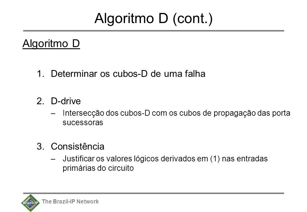 The Brazil-IP Network Algoritmo D (cont.) Algoritmo D 1.Determinar os cubos-D de uma falha 2.D-drive –Intersecção dos cubos-D com os cubos de propagação das porta sucessoras 3.Consistência –Justificar os valores lógicos derivados em (1) nas entradas primárias do circuito