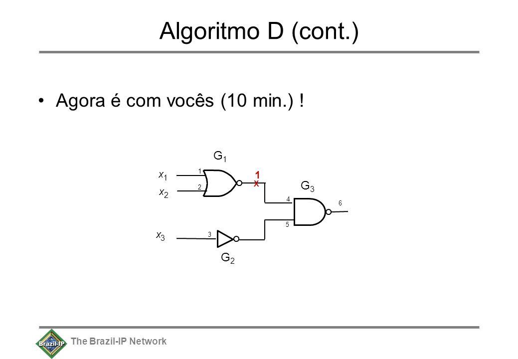 The Brazil-IP Network Algoritmo D (cont.) Agora é com vocês (10 min.) ! x 1 x 2 x 3 6 G1G1 G2G2 G3G3 4 1212 3 5 1 X