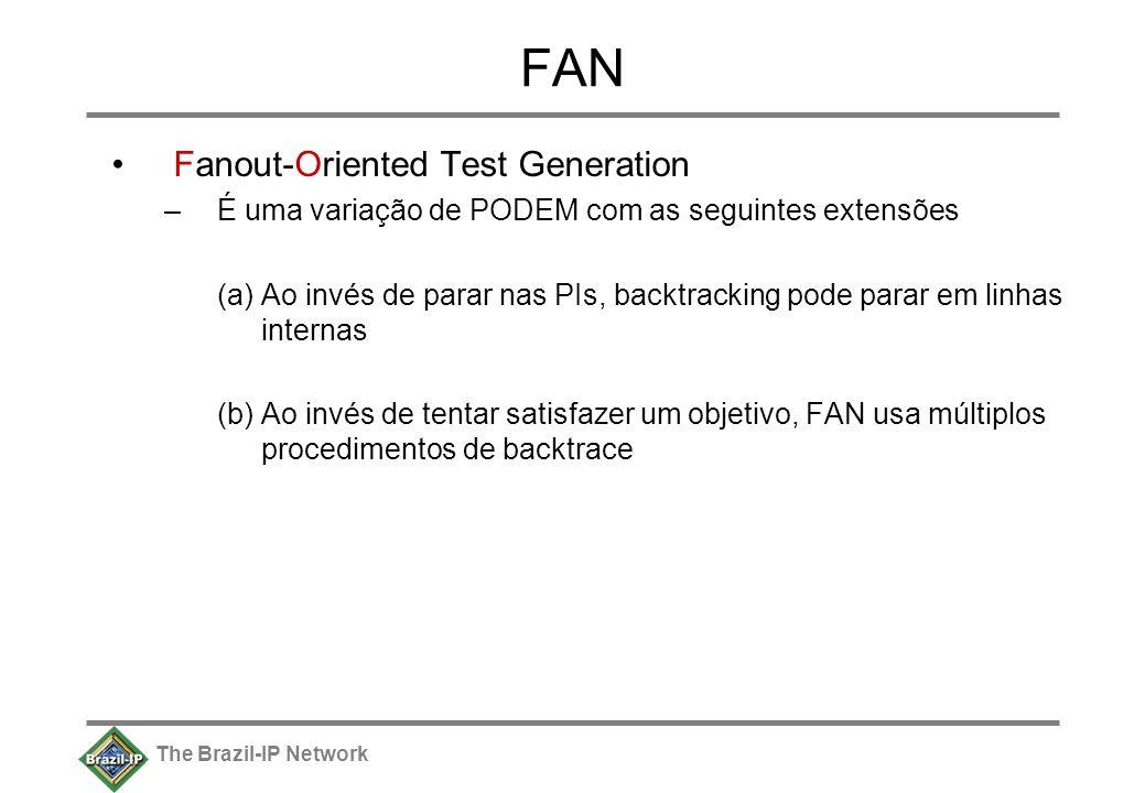 The Brazil-IP Network FAN Fanout-Oriented Test Generation –É uma variação de PODEM com as seguintes extensões (a)Ao invés de parar nas PIs, backtracking pode parar em linhas internas (b) Ao invés de tentar satisfazer um objetivo, FAN usa múltiplos procedimentos de backtrace