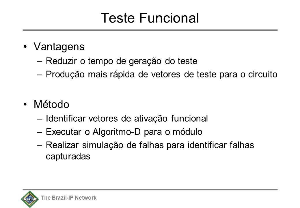 The Brazil-IP Network Teste Funcional Vantagens –Reduzir o tempo de geração do teste –Produção mais rápida de vetores de teste para o circuito Método –Identificar vetores de ativação funcional –Executar o Algoritmo-D para o módulo –Realizar simulação de falhas para identificar falhas capturadas