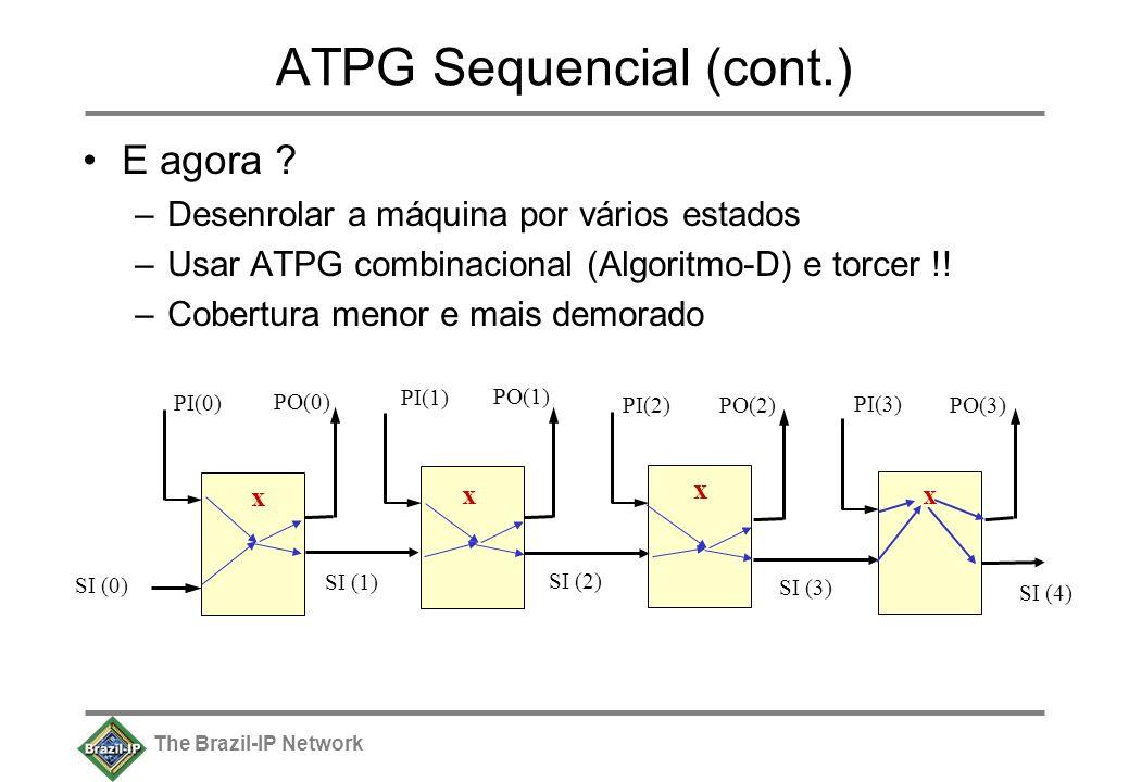 The Brazil-IP Network ATPG Sequencial (cont.) E agora ? –Desenrolar a máquina por vários estados –Usar ATPG combinacional (Algoritmo-D) e torcer !! –C