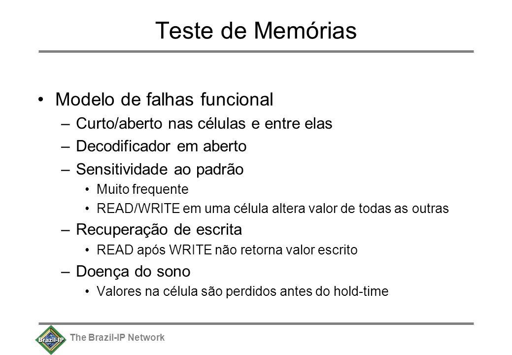 The Brazil-IP Network Teste de Memórias Modelo de falhas funcional –Curto/aberto nas células e entre elas –Decodificador em aberto –Sensitividade ao p